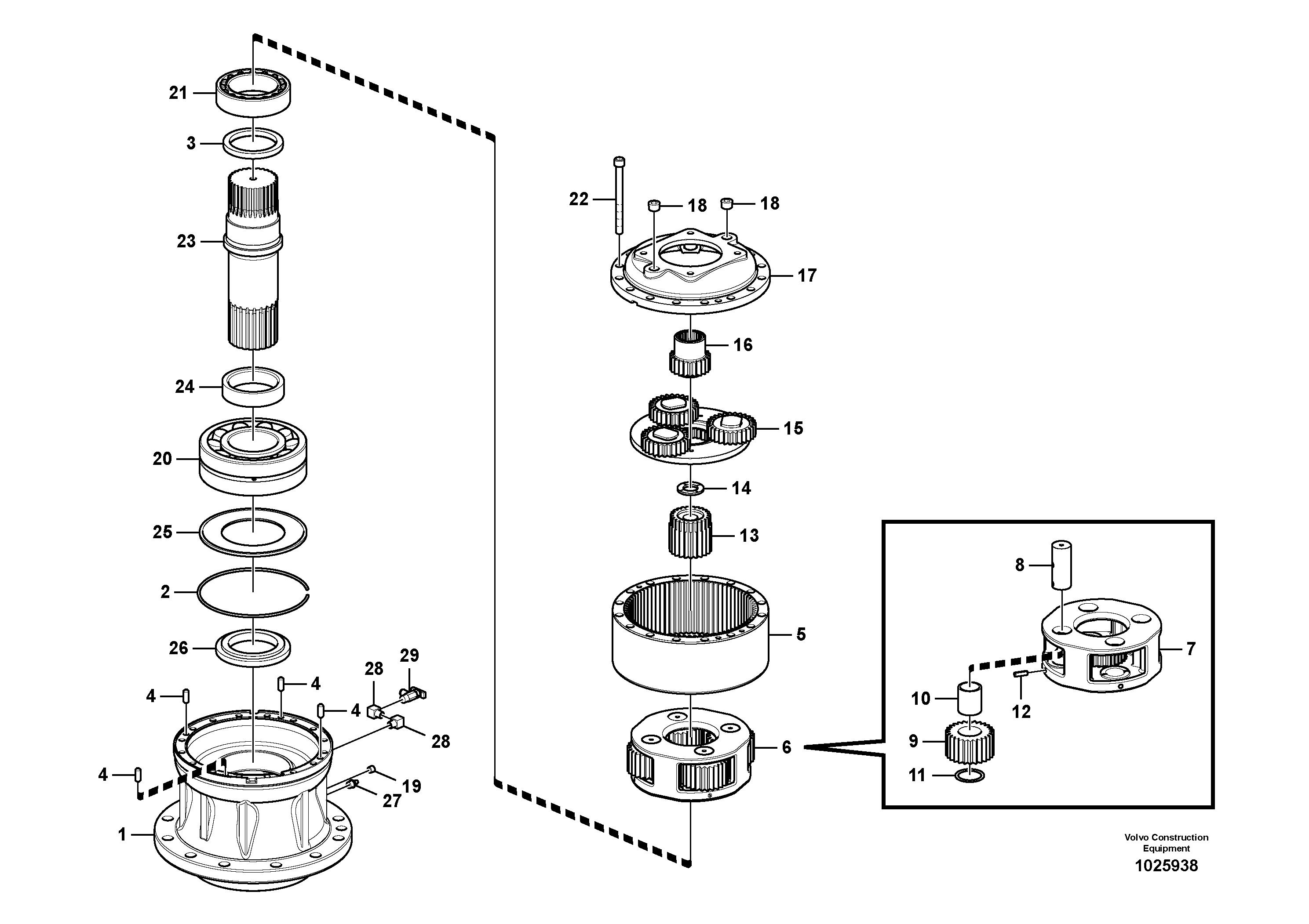 ekskavator-kule-donus-motoru